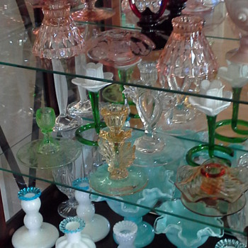 Some of My Glass Candlestick Collection - Glassware