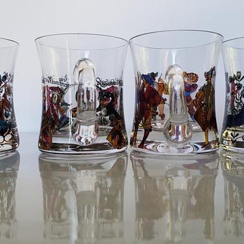 Tiny Enameled German Mugs, Cups or Steins - Glassware