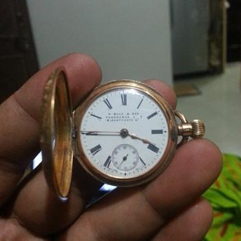 14K Gold Pocket Watch with Floral Design