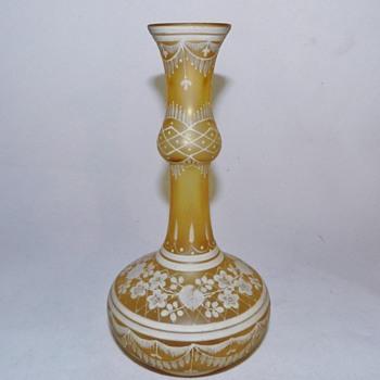 c1885 Bohemian Florentine Enamele/Cameo Glass Bottle Vase - Art Glass