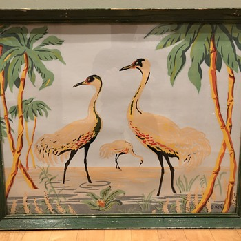 Large (Flamingos, Cranes?) Birds Painting Signed Bien HELP ID! - Fine Art