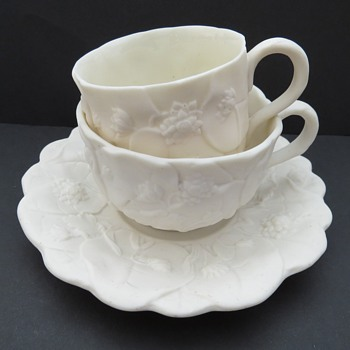 Parian Ware Tea and Coffee Cup and Saucer Set - China and Dinnerware