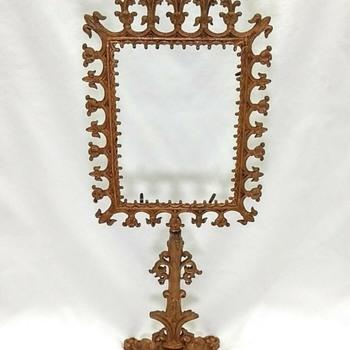 Antique Cast Metal Rococo Victorian Standing Picture Swivel Frame  Figural Base - Victorian Era