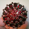 """Albert Weiss"" Monumental Ruby Red Austrian Crystal Brooch / Circa 1950's"