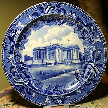 Blue and White Memorial Plate for the Memorial Continental Hall in Washington DC - 1905