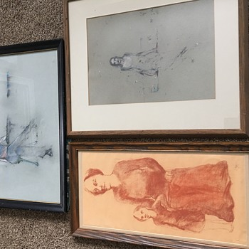 Lot of 3 sketches drawings - Fine Art
