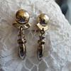 Monet modernist bullet earrings goldtone