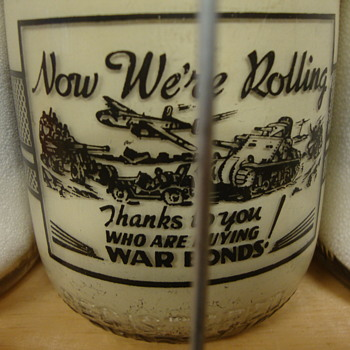 Unusual War Slogan Milk Bottles............