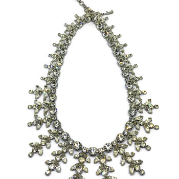 Sherman Clear stone Necklace - Costume Jewelry