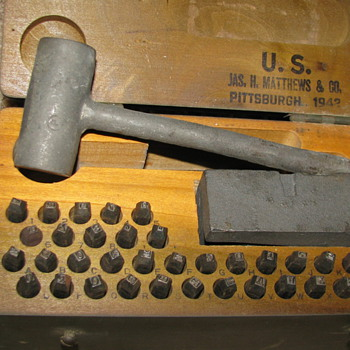 WWII 1942 Marking Outfit for Stamping Metal - Tools and Hardware