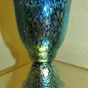Loetz Art Deco Cobalt Papillon Vase. - Art Glass