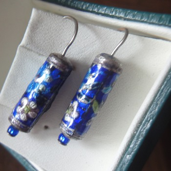 Chinese Silver cloisonné enameled earrings