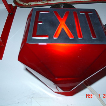 Antique Ruby Red Glass Exit Globe...Triangular Shape - Signs