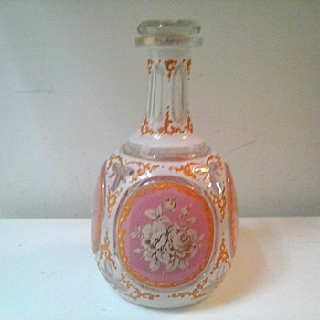 Pink & White Persian Enameled (?) Decanter With Gilt Floral Panels /Moser-Lobmeyr Style/Circa 19th-20th Century - Art Glass