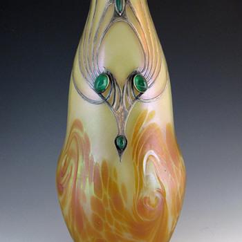 Ferdinand von Poschinger (Buchenau) Cabochon & Silver Overlay Vase - Art Nouveau