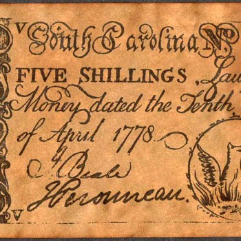 Colonial Currency - Novelty Note (South Carolina) - US Paper Money