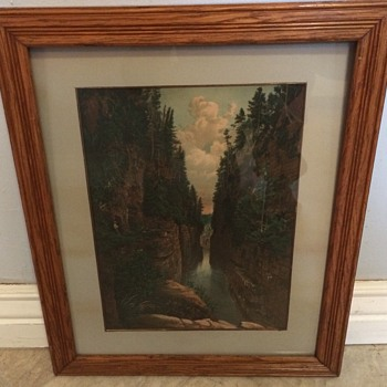 19th century color lithograph canyon Yellowstone? Yosemite?  - Fine Art