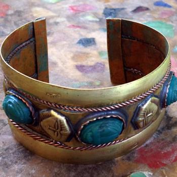 Sphinx & Scarab Brass Cuff Bracelet