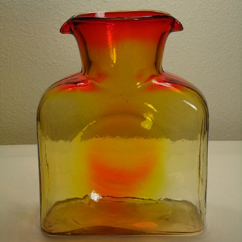 Blenko Tangerine 2 Spout Decanter - Art Glass