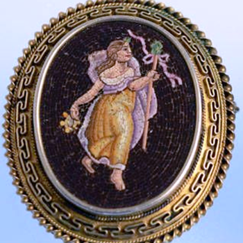 Early 1800's Micro Mosaic Brooch  depicting mythological figure of Persephone. - Fine Jewelry