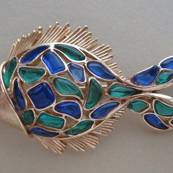 Trifari Modern Mosaics Fish Design Brooch - Costume Jewelry