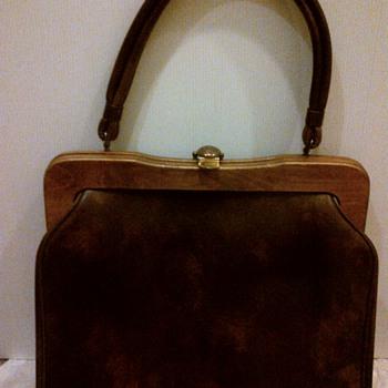 Vintage vinyl handbag with wooden frame