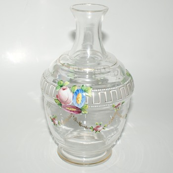 Vintage Glass Vase with Enameled Flowers - Glassware