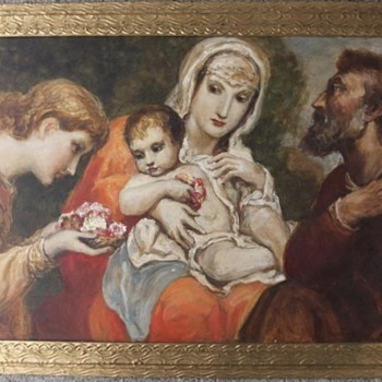 "Franz Hofstötter (1871-1958) original oil painting, ""The Holy Family"", 1957 - Fine Art"