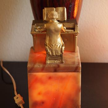 J B Hirsch Alabaster Beethoven Radio Lamp, J. Ruhl designer, 1932