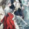 "Vincente Garcia de Paredes Painting/Hand-Colored Lithograph ""The Return of Lafayette"""