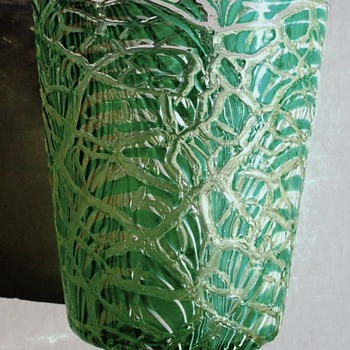 Durand Green & White Moorish Crackle Vase c.1925. - Art Glass