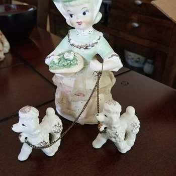 Vintage Woman Walking Dogs Figurines from Grandmother's 30 yr collection