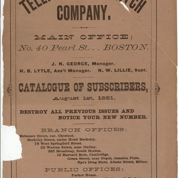 1881 Boston Telephone Directory with AGB listing