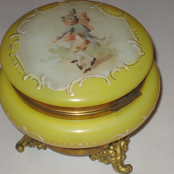 Yellow Trinket Box - Art Glass