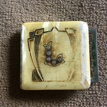 Vintage belt buckle with risqué  pic in secret compartment