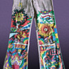 Vintage Neil Young Purple Hippie Folk Art Hip Hugger Bellbottoms