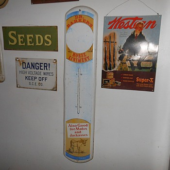 Dr Barker's Horse Liniment Metal Sign Thermometer - Advertising