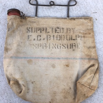 Australian Outback Canvas Filter Water Bag 'EC Biddulph, Springsure' - Advertising