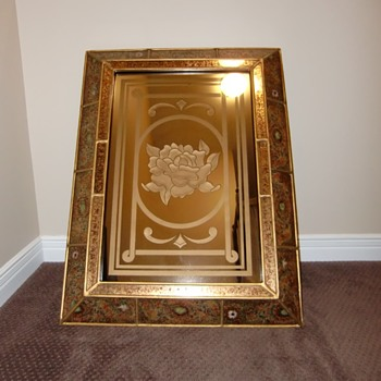 Beautiful Engraved Mirror in Chinese Frame
