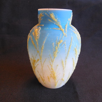 Antique Mount Washington Coraline Seaweed Blue Satin Uranium Glass Vase - Art Glass