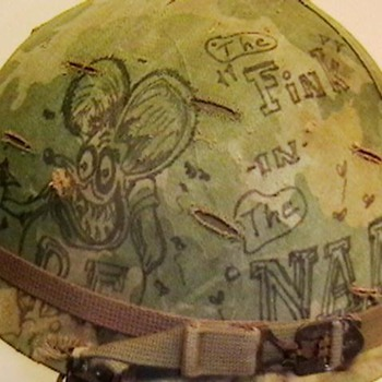 U.S. M-1 Helmet Used in Vietnam with Original Graffiti on Helmet Cover - Military and Wartime