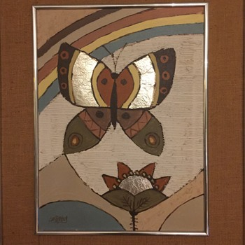 Lee Reynolds Rainbow, Butterfly, flower. - Fine Art