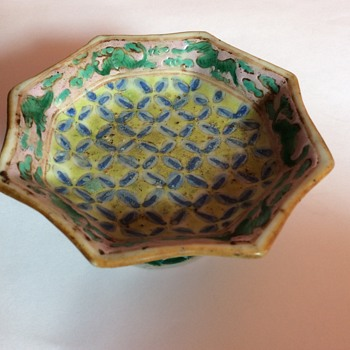 Small stoneware Chinese ? Octagonal Bowl with Export Seal - Asian
