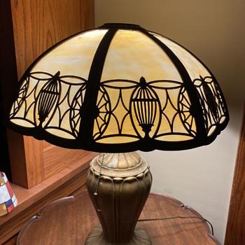 Slag Glass 8 panel shade, Art Nouveau base - Lamps