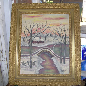 "1960's Vincent Price Art Collection Painting,""R.Hunter"" Sears - Fine Art"
