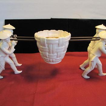 Ceramic or China - Asian Men Carrying a Basket