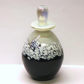 Studio Art Glass Bottle - Black & White - Signed R Mynatt 2011 - Bottles
