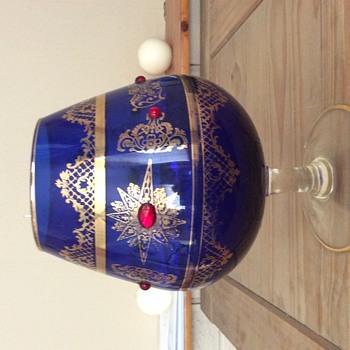 Large blue decorative brandy glass - Glassware