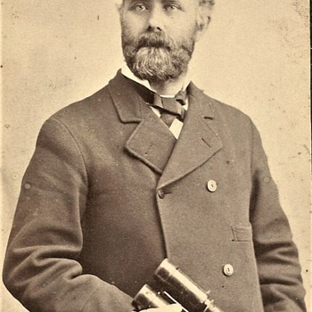 Rare Occupational? 1882 Photo of Uniformed Man with Binoculars  - Photographs
