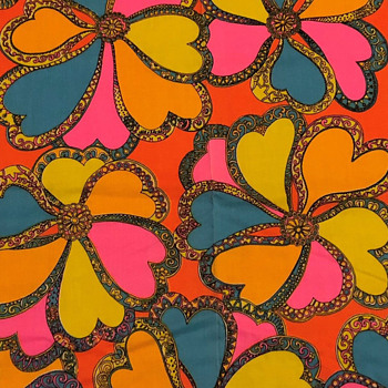 Outstanding Early 1970's Unused Vintage Psychedelic Flower Power Fabric - Rugs and Textiles